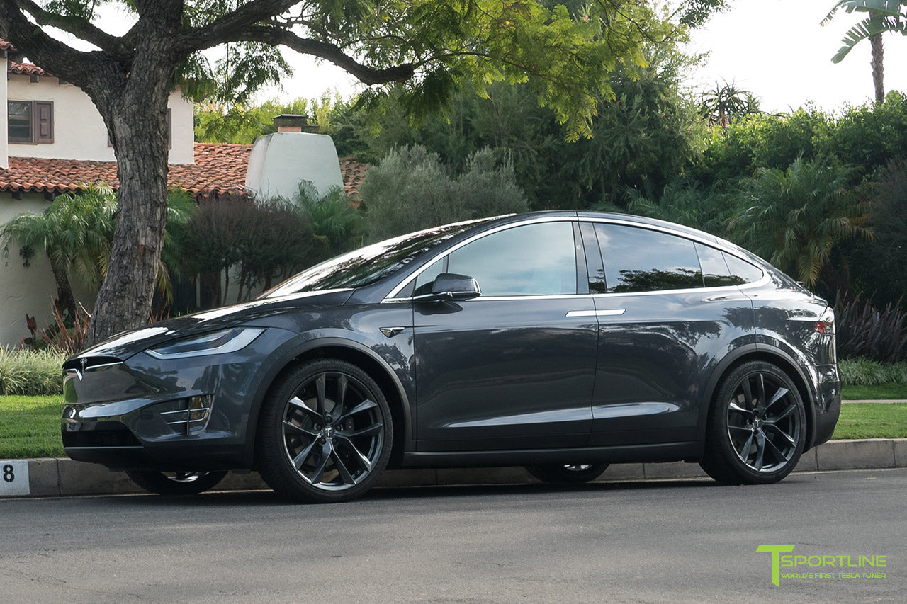 Midnight Silver Metallic Tesla Model X with Space Gray 22 inch TSS Arachnid Style Flow Forged Wheels by T Sportline