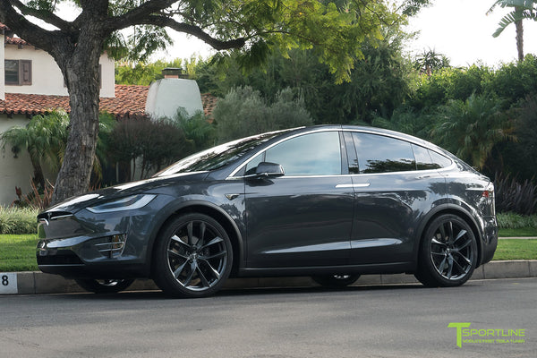 Midnight Silver Metallic Tesla Model X with Space Gray 22 inch TSS Flow Forged Wheels by T Sportline 4
