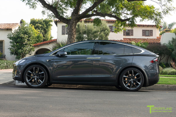 Midnight Silver Metallic Tesla Model X with Space Gray 22 inch TSS Flow Forged Wheels by T Sportline 3