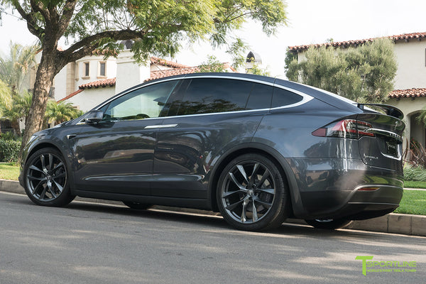 Midnight Silver Metallic Tesla Model X with Space Gray 22 inch TSS Flow Forged Wheels by T Sportline 2