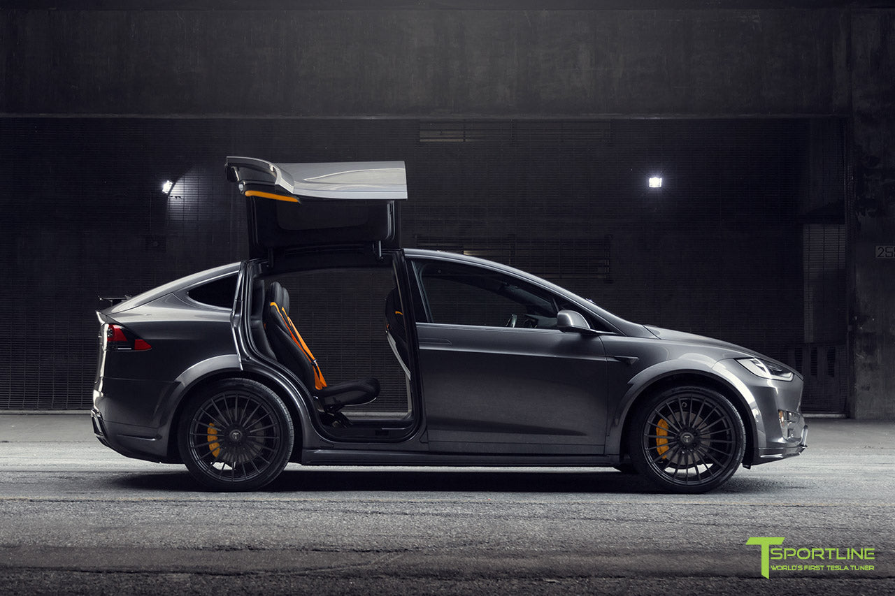 T Largo Limited Edition Midnight Silver Metallic Tesla Model X Carbon Fiber Wide Body Kit with TS120 22 inch Tesla Forged Wheels and a Ferrari Black / Lamborghini Orange Custom Leather Interior by T Sportline 29