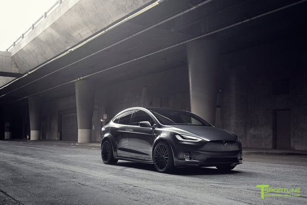 T Largo Limited Edition Midnight Silver Metallic Tesla Model X Carbon Fiber Wide Body Kit with TS120 22 inch Tesla Forged Wheels and a Ferrari Black / Lamborghini Orange Custom Leather Interior by T Sportline 33