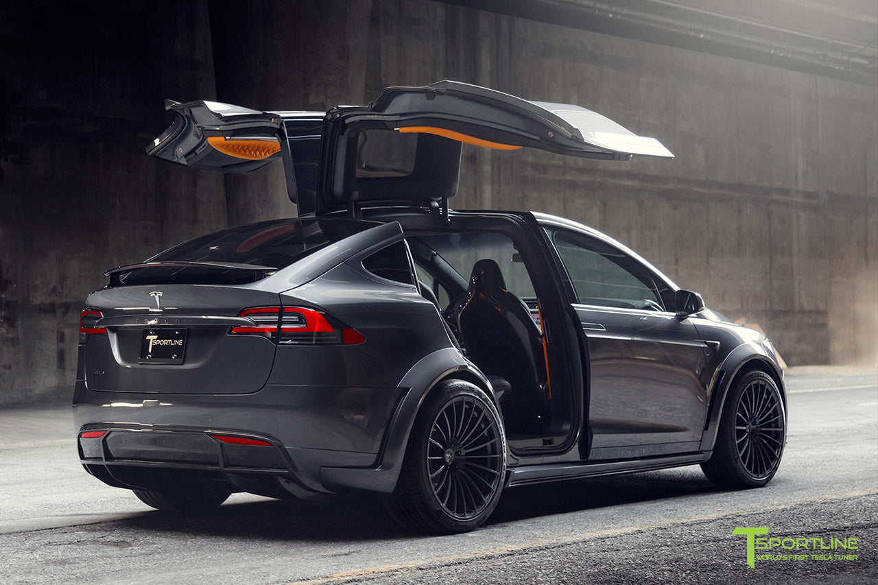 T Largo Limited Edition Midnight Silver Metallic Tesla Model X Carbon Fiber Wide Body Kit with TS120 22 inch Tesla Forged Wheels and a Ferrari Black / Lamborghini Orange Custom Leather Interior by T Sportline 28