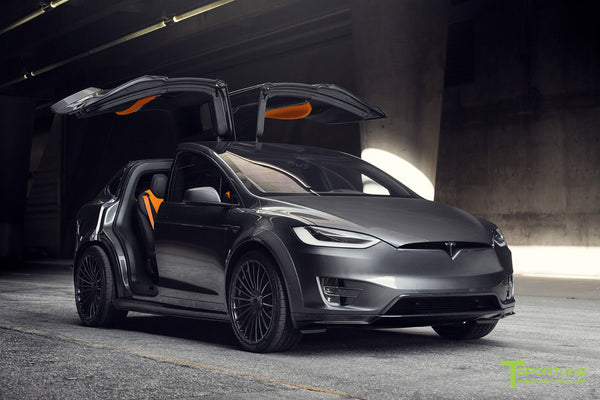 T Largo Limited Edition Midnight Silver Metallic Tesla Model X Carbon Fiber Wide Body Kit with TS120 22 inch Tesla Forged Wheels and a Ferrari Black / Lamborghini Orange Custom Leather Interior by T Sportline 30