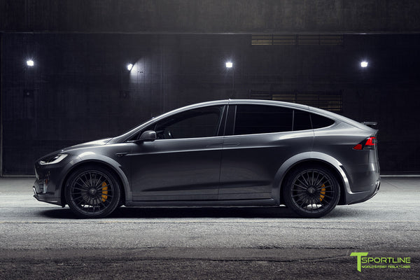 T Largo Limited Edition Midnight Silver Metallic Tesla Model X Carbon Fiber Wide Body Kit with TS120 22 inch Tesla Forged Wheels and a Ferrari Black / Lamborghini Orange Custom Leather Interior by T Sportline 32