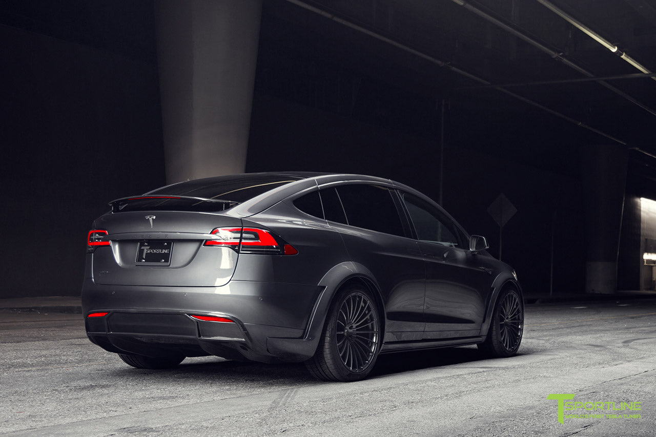 T Largo Limited Edition Midnight Silver Metallic Tesla Model X Carbon Fiber Wide Body Kit with TS120 22 inch Tesla Forged Wheels and a Ferrari Black / Lamborghini Orange Custom Leather Interior by T Sportline 31