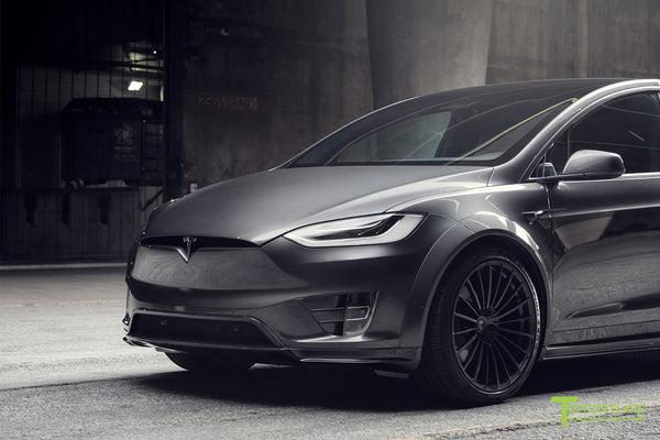 T Largo Limited Edition Midnight Silver Metallic Tesla Model X Carbon Fiber Wide Body Kit with TS120 22 inch Tesla Forged Wheels and a Ferrari Black / Lamborghini Orange Custom Leather Interior by T Sportline 27
