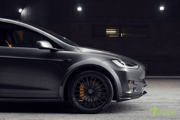 T Largo Limited Edition Midnight Silver Metallic Tesla Model X Carbon Fiber Wide Body Kit with TS120 22 inch Tesla Forged Wheels and a Ferrari Black / Lamborghini Orange Custom Leather Interior by T Sportline 26
