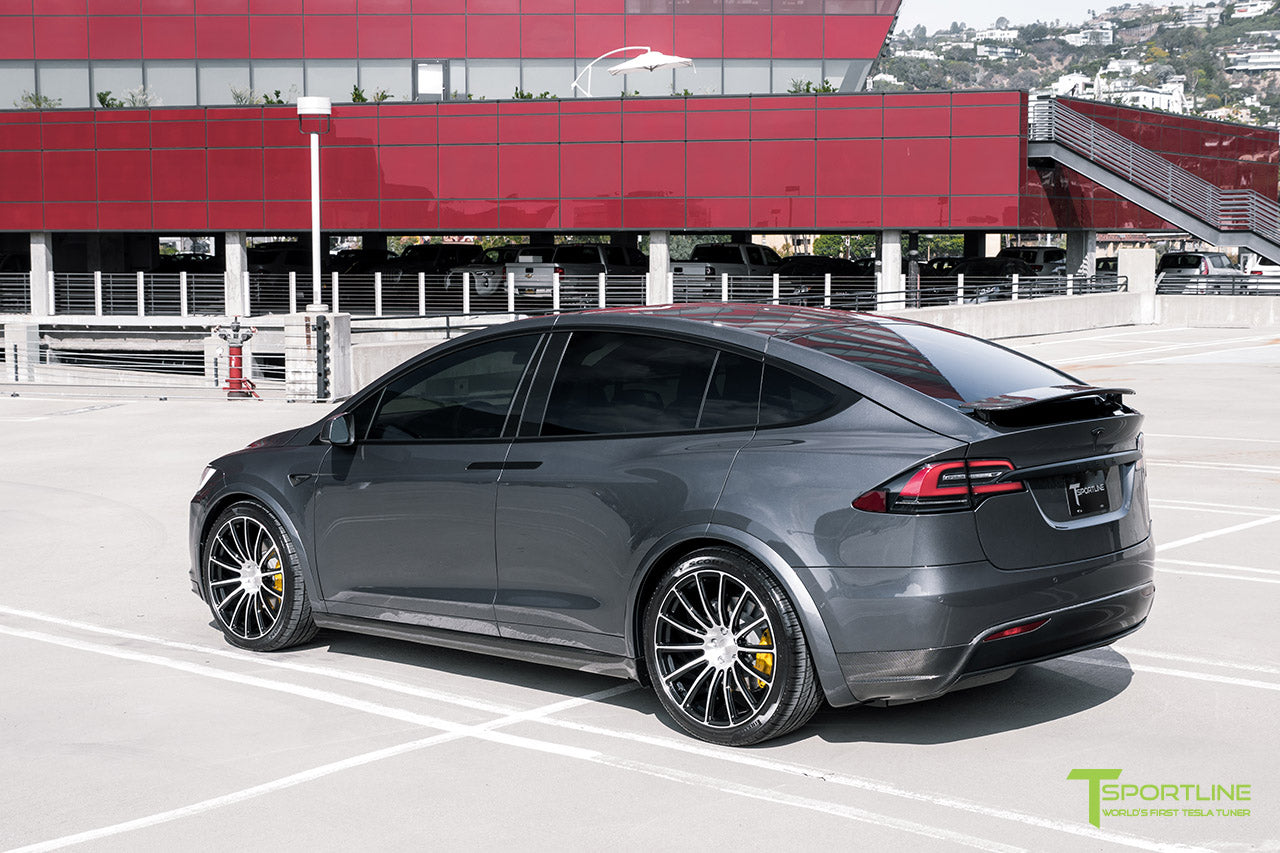 Midnight Silver Metallic Tesla Model X with Carbon Fiber Sport Package, Rear Wing by T Sportline