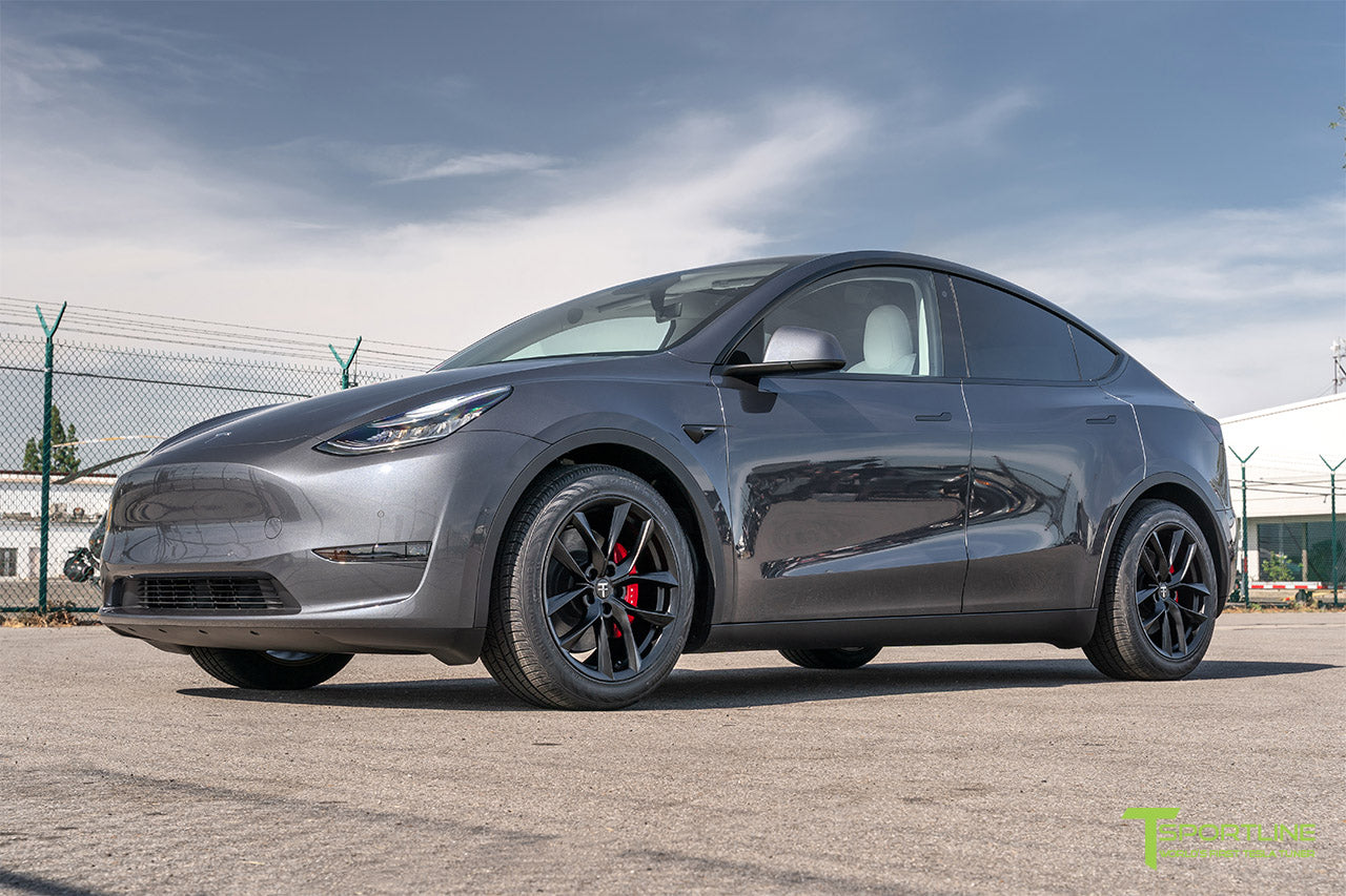 Midnight Silver Metallic Tesla Model Y with Matte Black 19 inch TSS Flow Forged Wheels by T Sportline