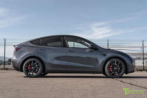 Midnight Silver Metallic Tesla Model Y with 20 inch TSS Flow Forged Wheels in Gloss Black by T Sportline