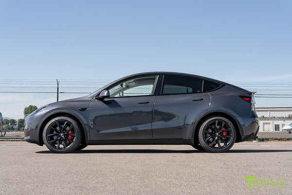 Midnight Silver Metallic Tesla Model Y with 20 inch TSS Flow Forged Wheels in Matte Black by T Sportline