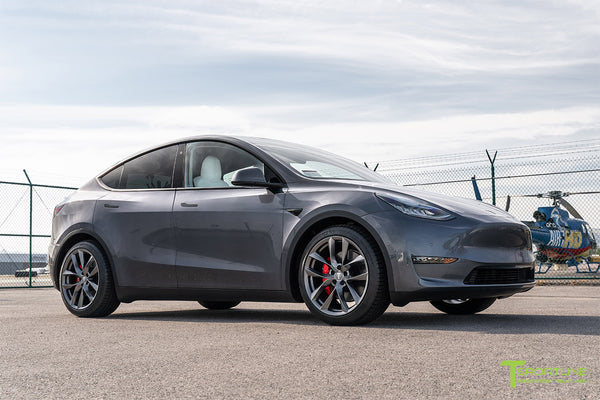 Midnight Silver Metallic Tesla Model Y with 20 inch TSS Flow Forged Wheels in Space Gray by T Sportline