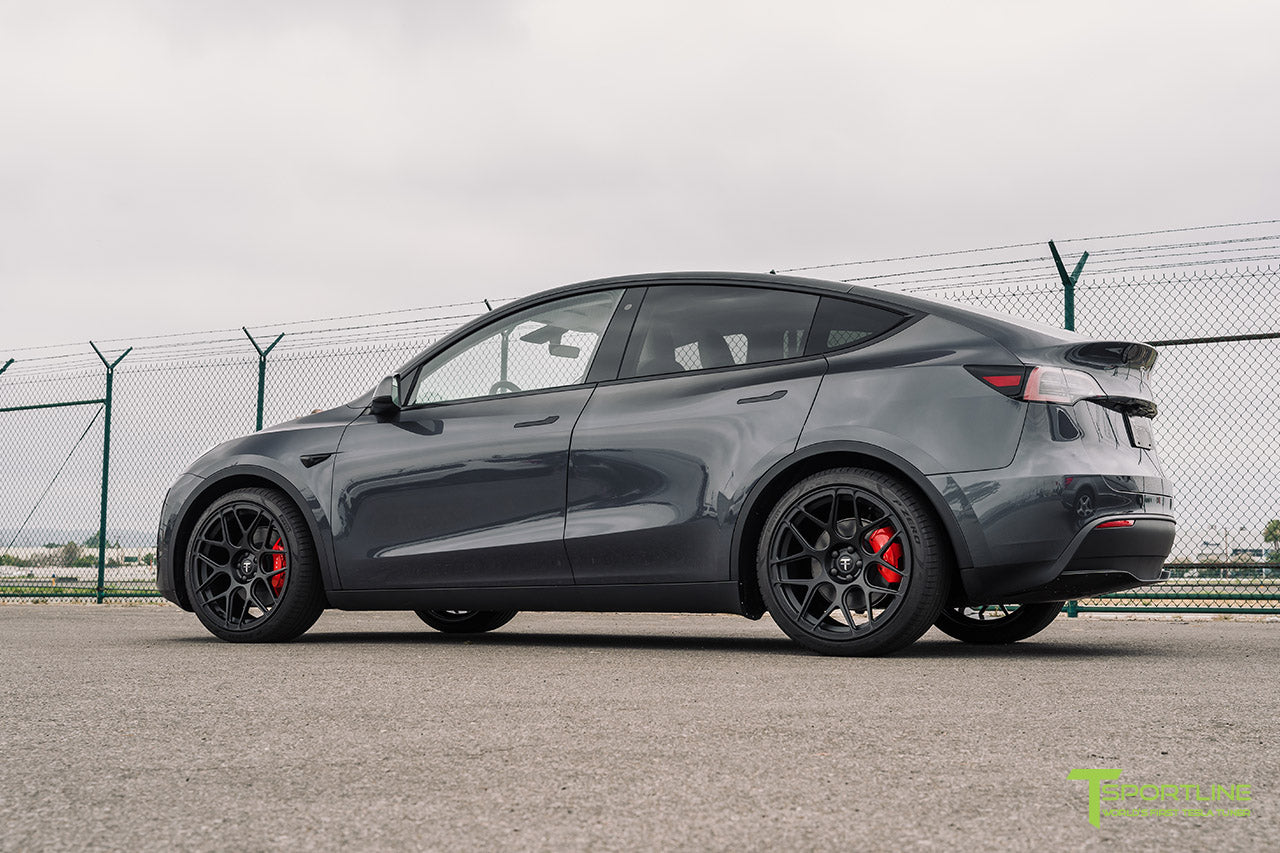 Midnight Silver Metallic Tesla Model Y with 21 inch TY117 Forged Wheels in Matte Black by T Sportline