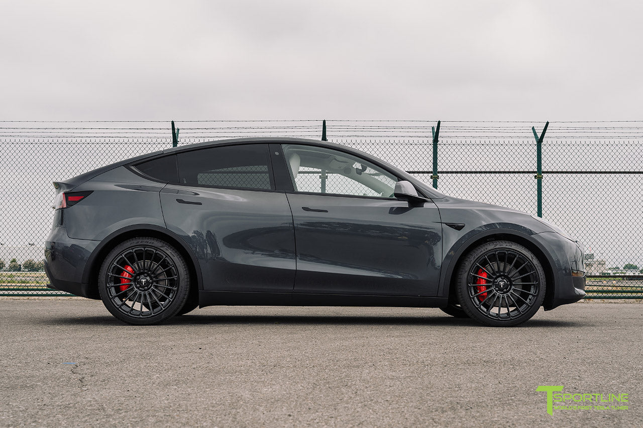 Midnight Silver Metallic Tesla Model Y with 21 inch TY118 Forged Wheels in Gloss Black by T Sportline