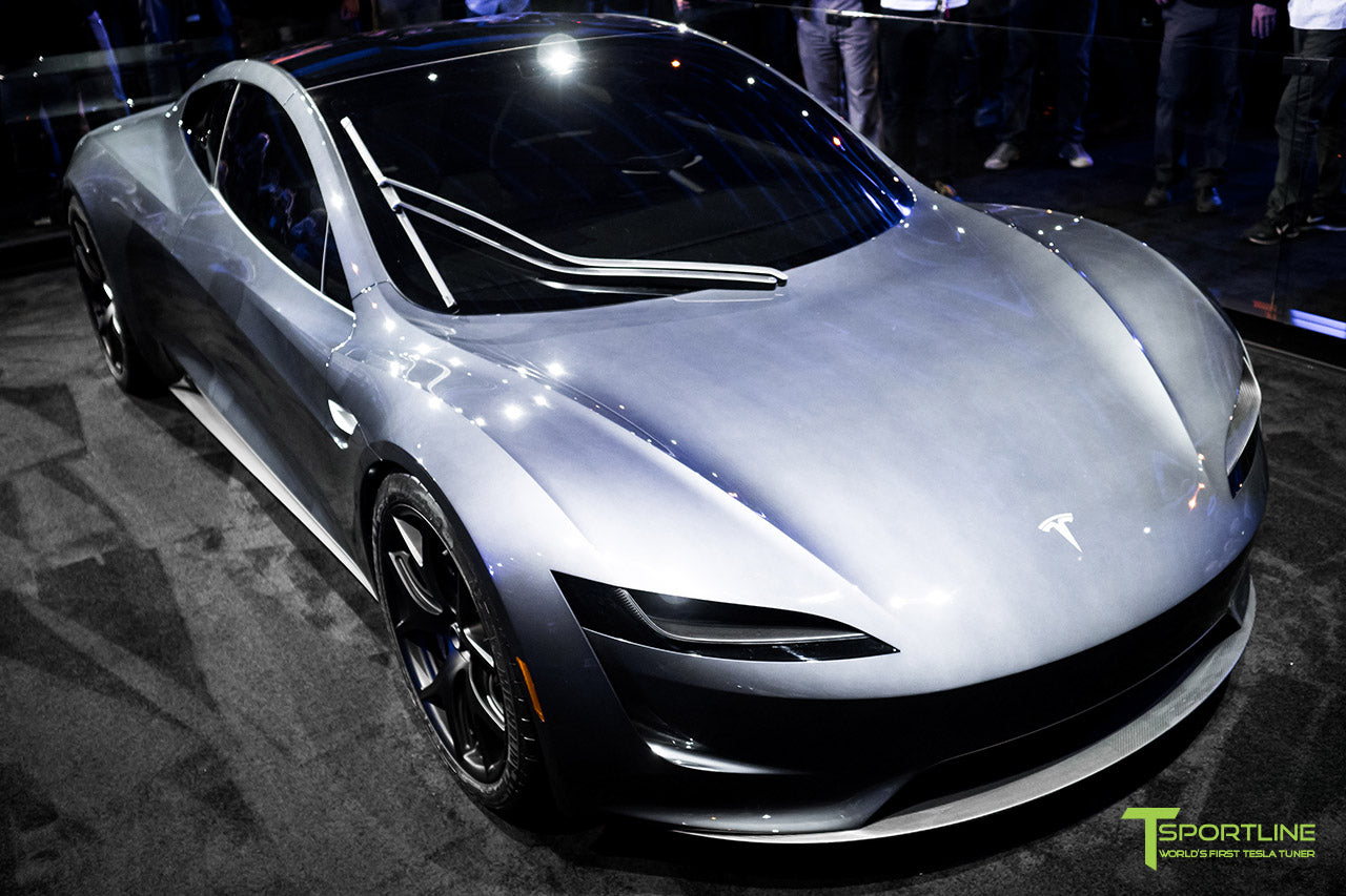 Tesla Roadster Unveiling Photos In Red Multi Coat And Midnight Silver  Metallic With Interior By