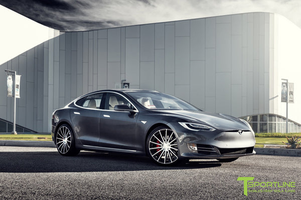 Midnight Silver Metallic Tesla Model S 2.0 with Diamond Black 21 inch TS114 Forged Wheels 1