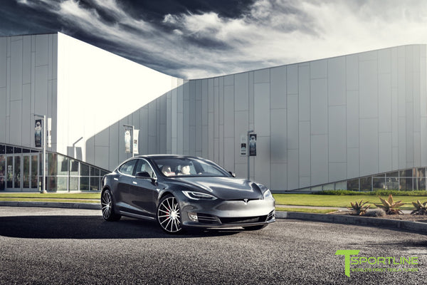 Midnight Silver Metallic Tesla Model S 2.0 with Diamond Black 21 inch TS114 Forged Wheels 2