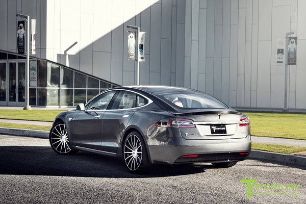 Midnight Silver Metallic Tesla Model S 2.0 with Diamond Black 21 inch TS114 Forged Wheels 4