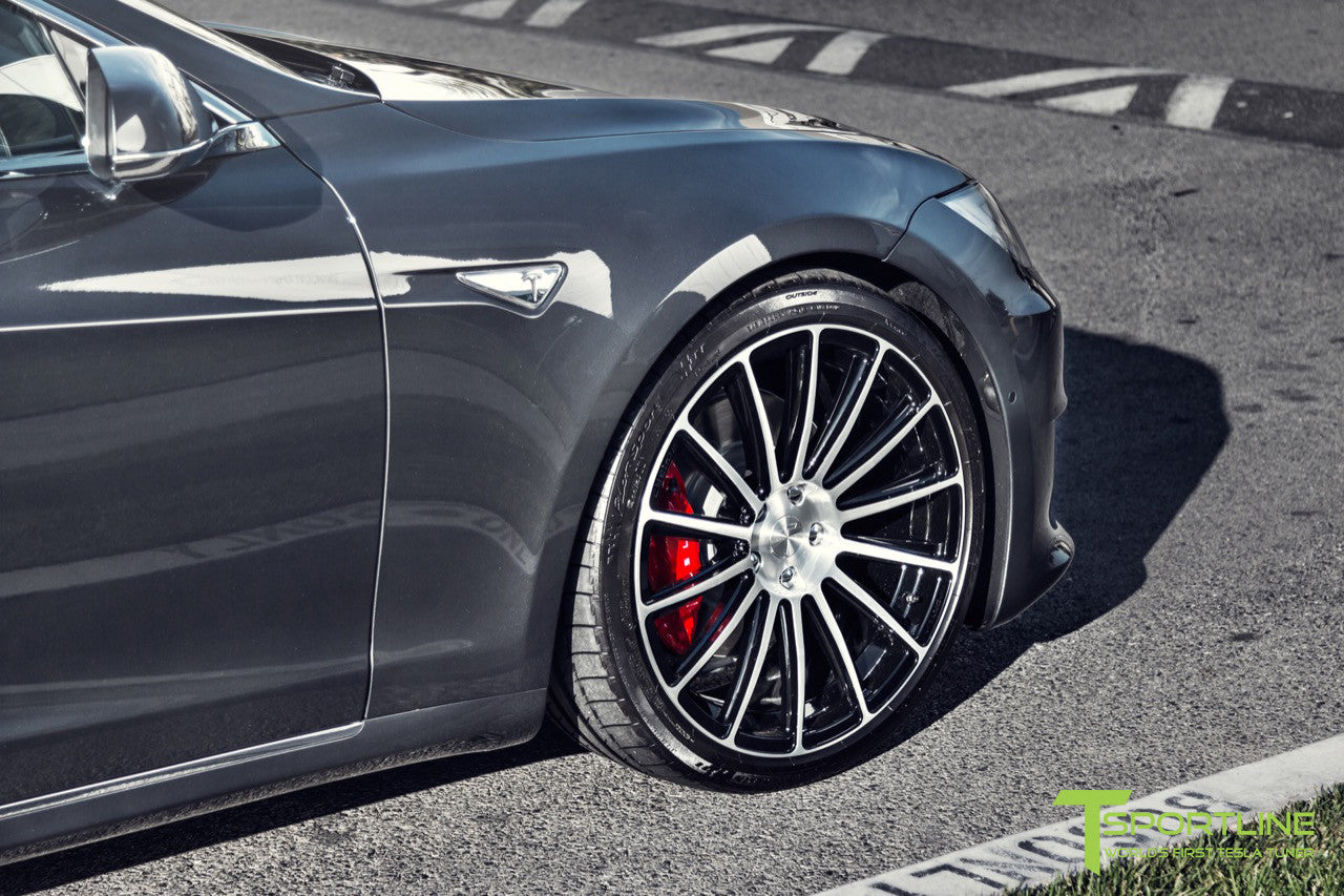 Midnight Silver Metallic Tesla Model S 2.0 with Diamond Black 21 inch TS114 Forged Wheels 5