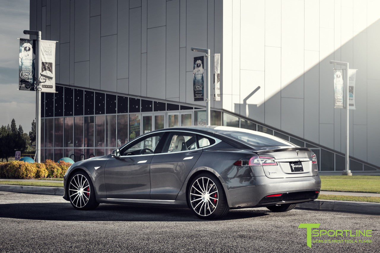 Midnight Silver Metallic Tesla Model S with Carbon Fiber Trunk Wing Spoiler