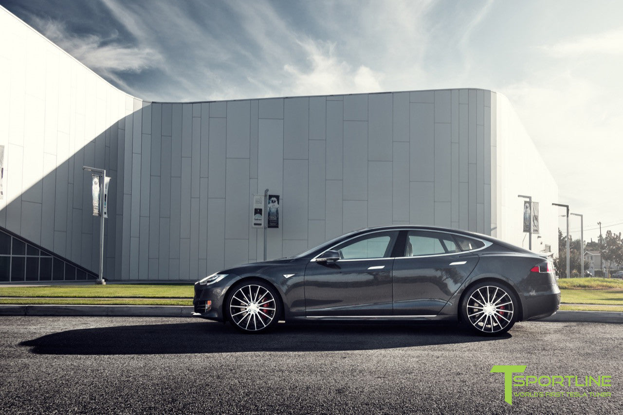Midnight Silver Metallic Tesla Model S 2.0 with Diamond Black 21 inch TS114 Forged Wheels 7
