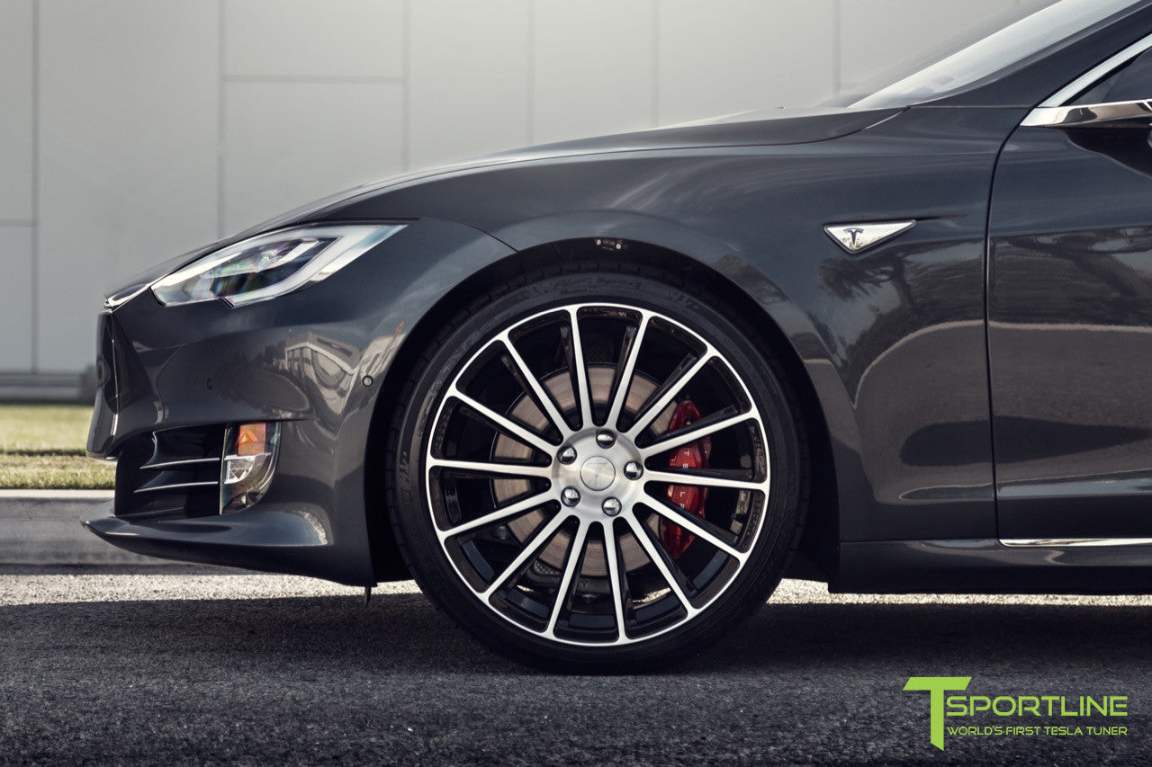 Midnight Silver Metallic Tesla Model S 2.0 with Diamond Black 21 inch TS114 Forged Wheels 8