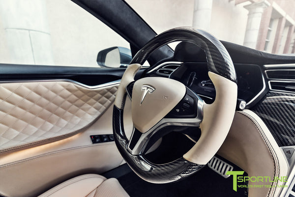 Project MSM - Model S (2016 Facelift) - Custom Ferrari Creme Interior - Gloss Carbon Fiber Trim by T Sportline 6