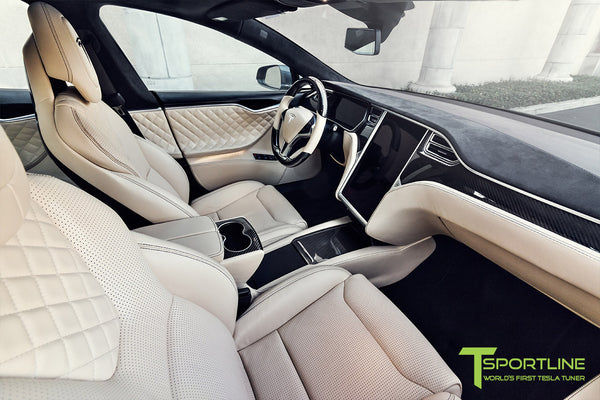 Project MSM - Model S (2016 Facelift) - Custom Ferrari Creme Interior - Gloss Carbon Fiber Trim by T Sportline 7