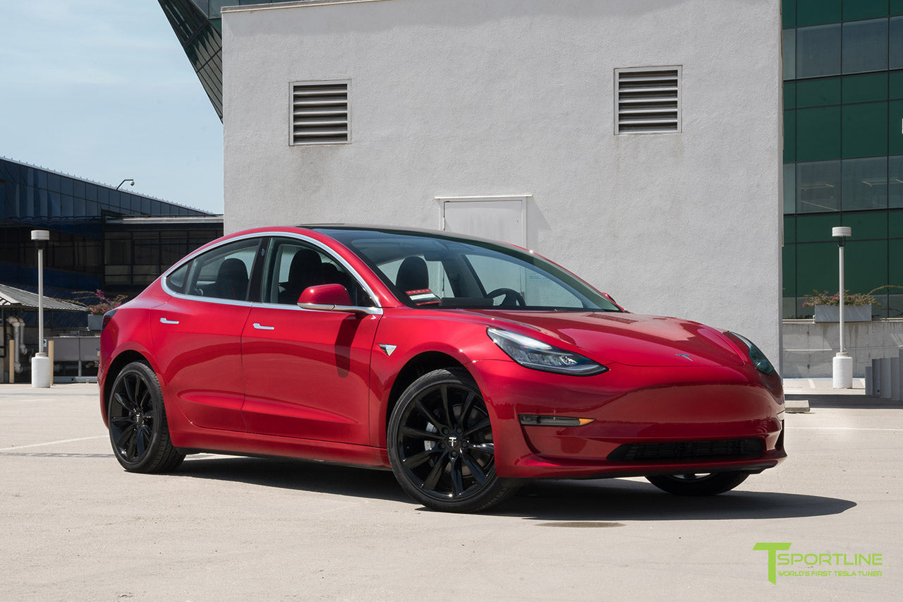 Red Multi-Coat Tesla Model 3 with Gloss Black 19 inch TST Turbine Style Wheels by T Sportline 4