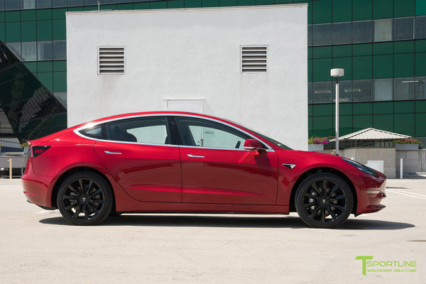 Red Multi-Coat Tesla Model 3 with Gloss Black 19 inch TST Turbine Style Wheels by T Sportline 3