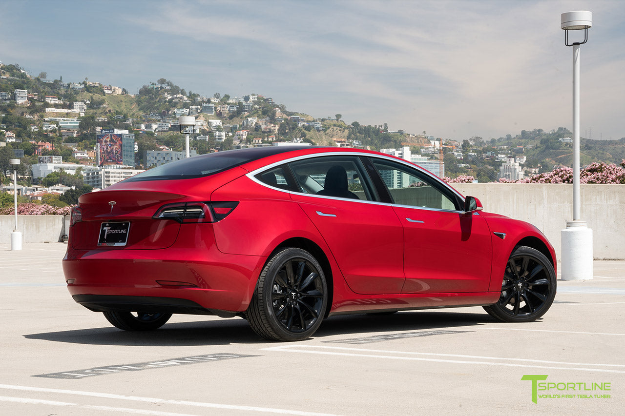 Red Multi-Coat Tesla Model 3 with Gloss Black 19 inch TST Turbine Style Wheels by T Sportline