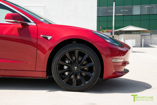 Red Multi-Coat Tesla Model 3 with Gloss Black 19 inch TST Turbine Style Wheels by T Sportline 1