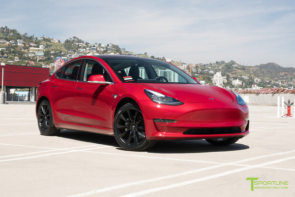 Red Multi-Coat Tesla Model 3 with Matte Black 19 inch TST Turbine Style Wheels by T Sportline 4