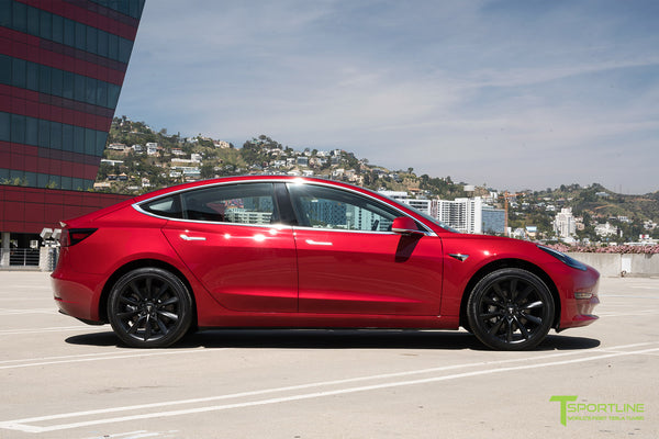 Red Multi-Coat Tesla Model 3 with Matte Black 19 inch TST Turbine Style Wheels by T Sportline 3