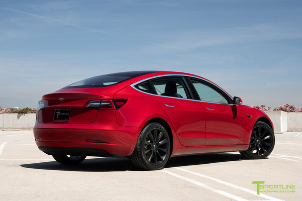 Red Multi-Coat Tesla Model 3 with Matte Black 19 inch TST Turbine Style Wheels by T Sportline 2