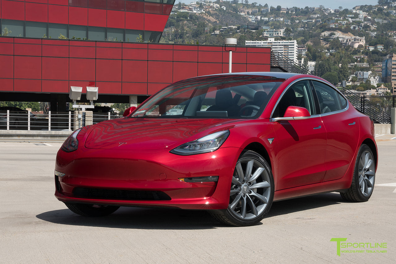 Red Multi-Coat Tesla Model 3 with Metallic Gray 19 inch TST Turbine Style Wheels by T Sportline 4