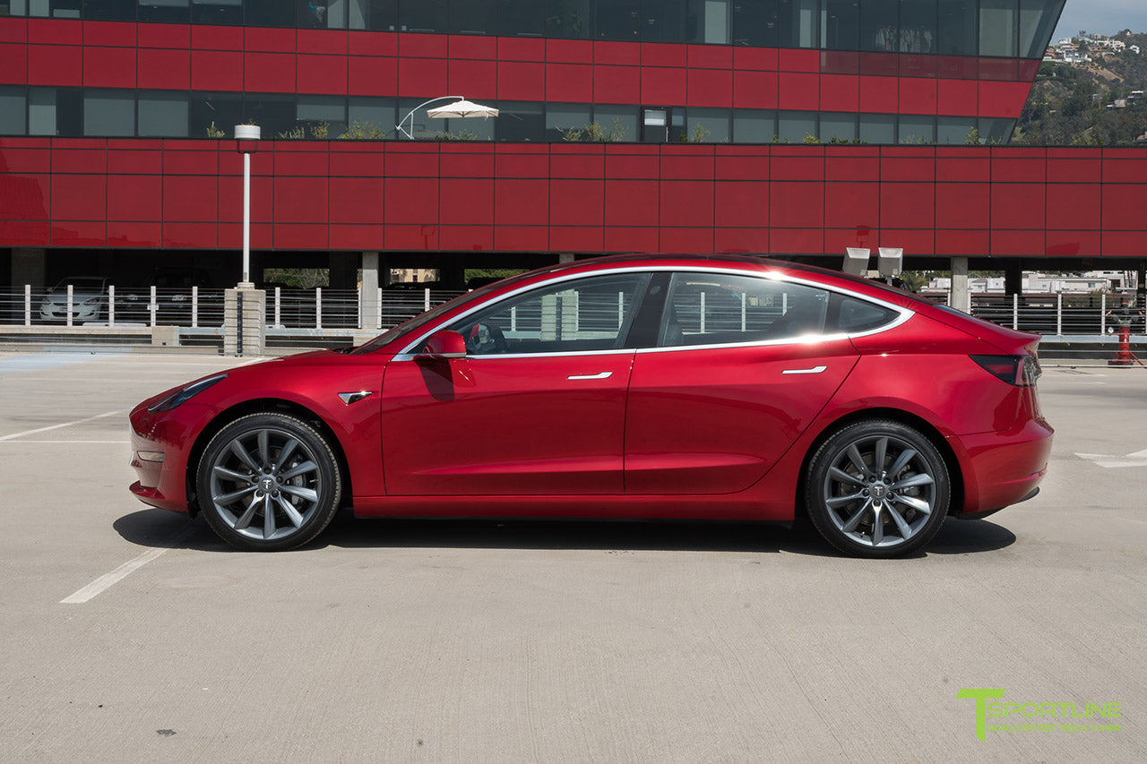 Red Multi-Coat Tesla Model 3 with Metallic Gray 19 inch TST Turbine Style Wheels by T Sportline