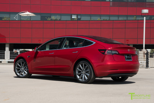 Red Multi-Coat Tesla Model 3 with Metallic Gray 19 inch TST Turbine Style Wheels by T Sportline 2