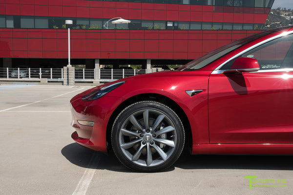 Red Multi-Coat Tesla Model 3 with Metallic Gray 19 inch TST Turbine Style Wheels by T Sportline 1