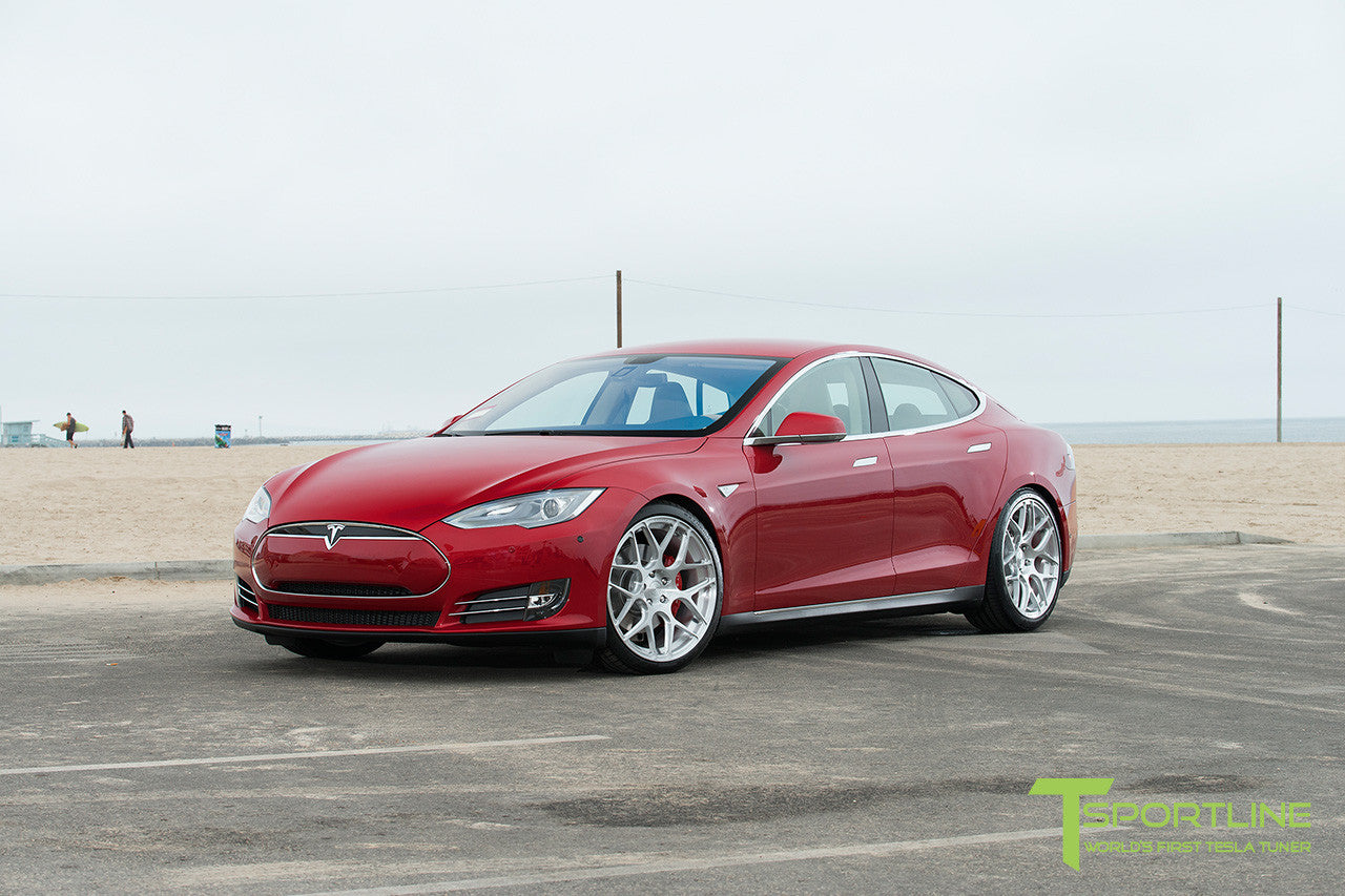 Project Rosso - Tesla Model S P85 - Tan Interior and Multi-Coat Red Seatbacks - 21 Inch TS117 Forged Wheels in Brush Satin 9