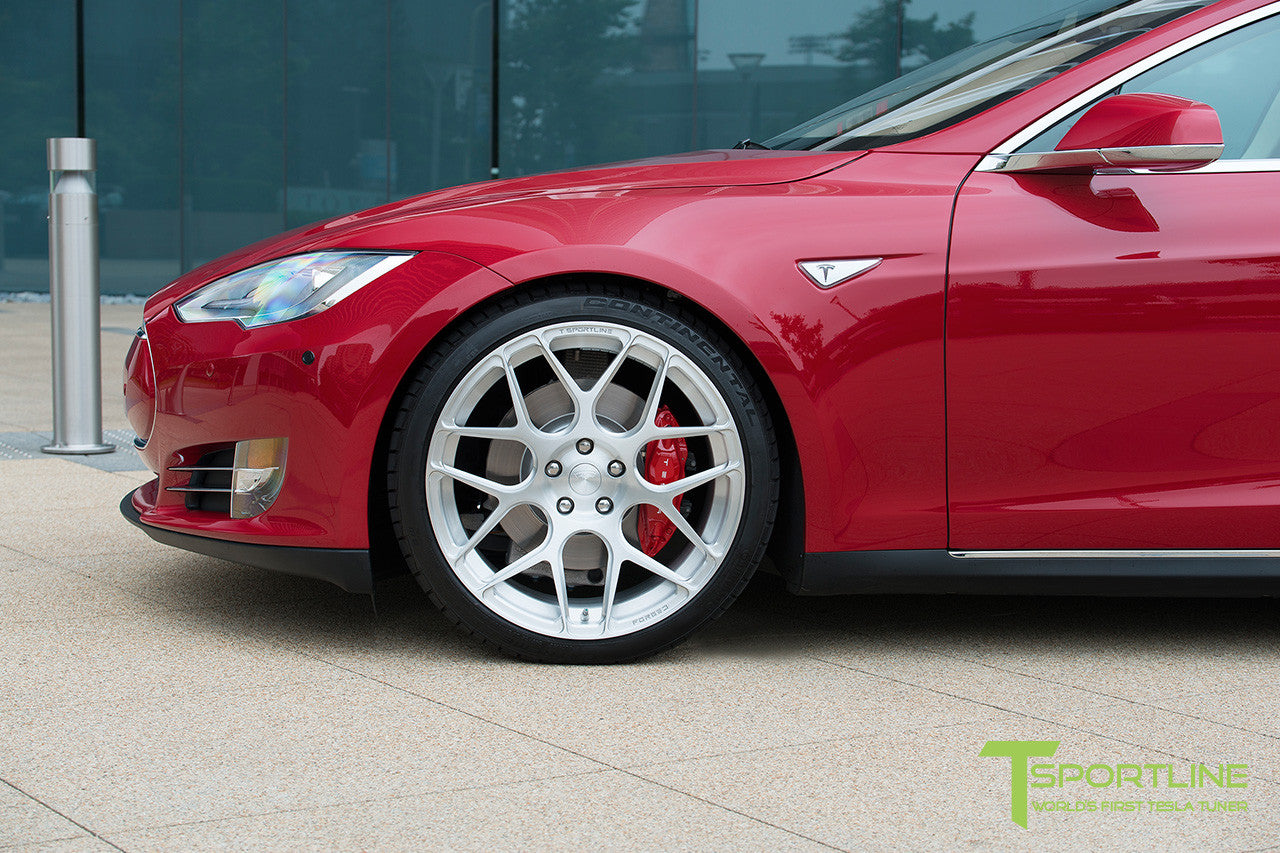Project Rosso - Tesla Model S P85 - Tan Interior and Multi-Coat Red Seatbacks - 21 Inch TS117 Forged Wheels in Brush Satin 7
