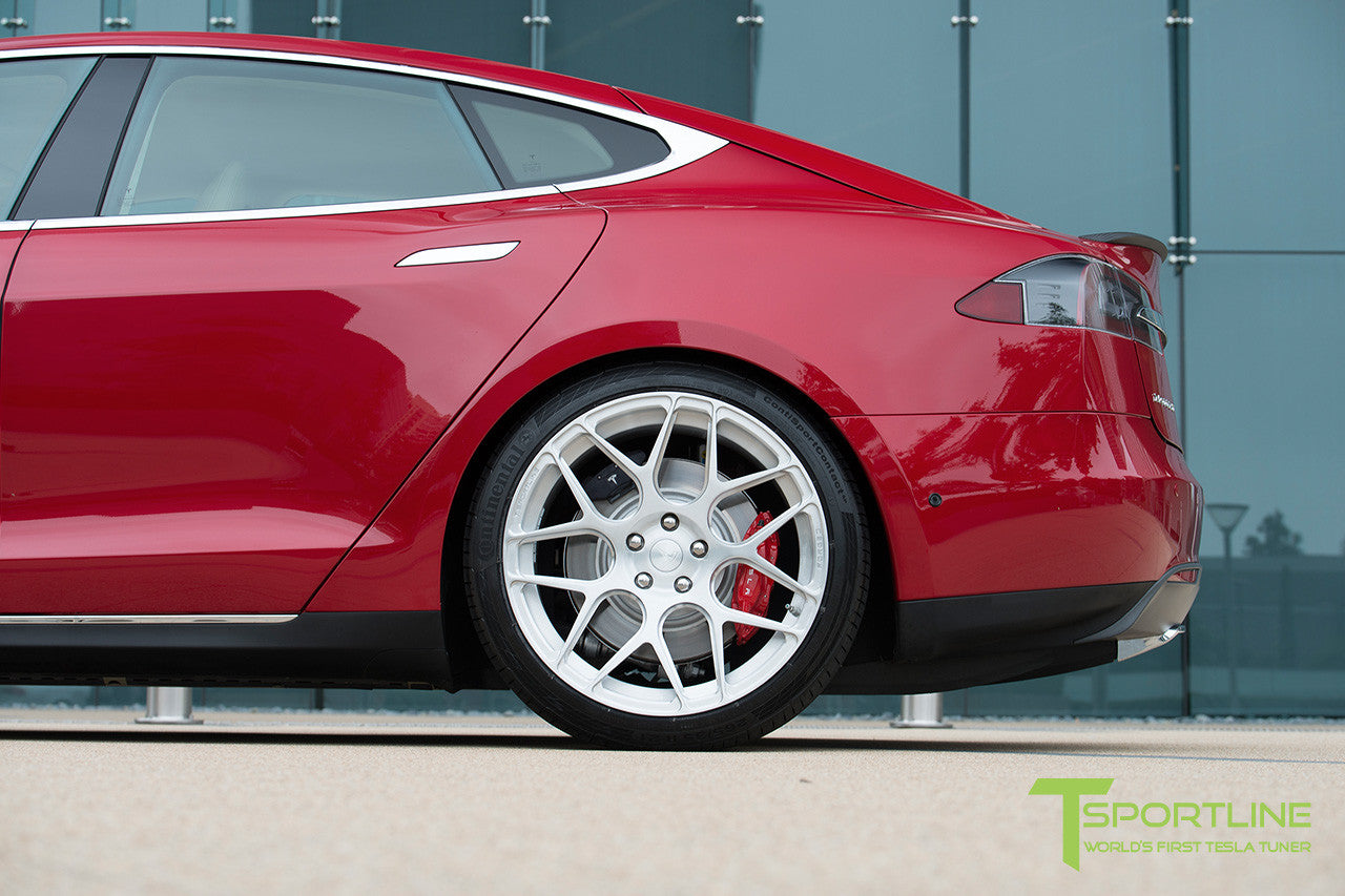 Project Rosso - Tesla Model S P85 - Tan Interior and Multi-Coat Red Seatbacks - 21 Inch TS117 Forged Wheels in Brush Satin 6
