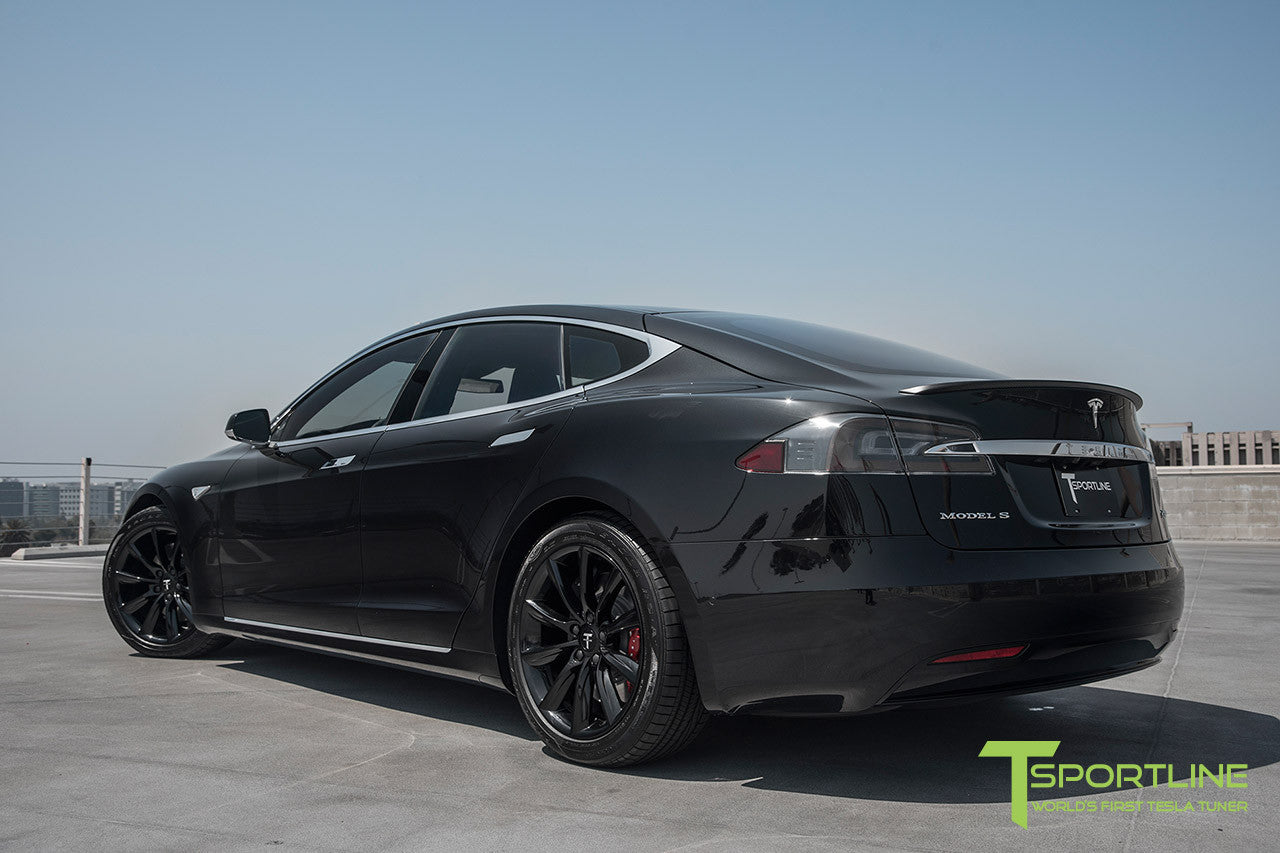 "Obsidian Black Model S 2.0 with 19"" TST Tesla Wheel in Gloss Black 3"