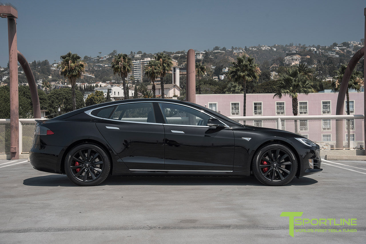 "Obsidian Black Model S 2.0 with 19"" TST Tesla Wheel in Matte Black"