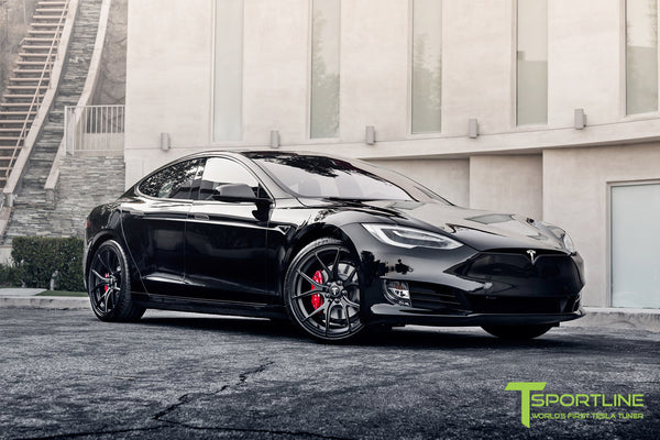 Project Cupertino - 2016 Tesla Model S P90D Ludicrous - Custom Ferrari Rosso Interior - 21 inch TS115 Forged Wheels 8