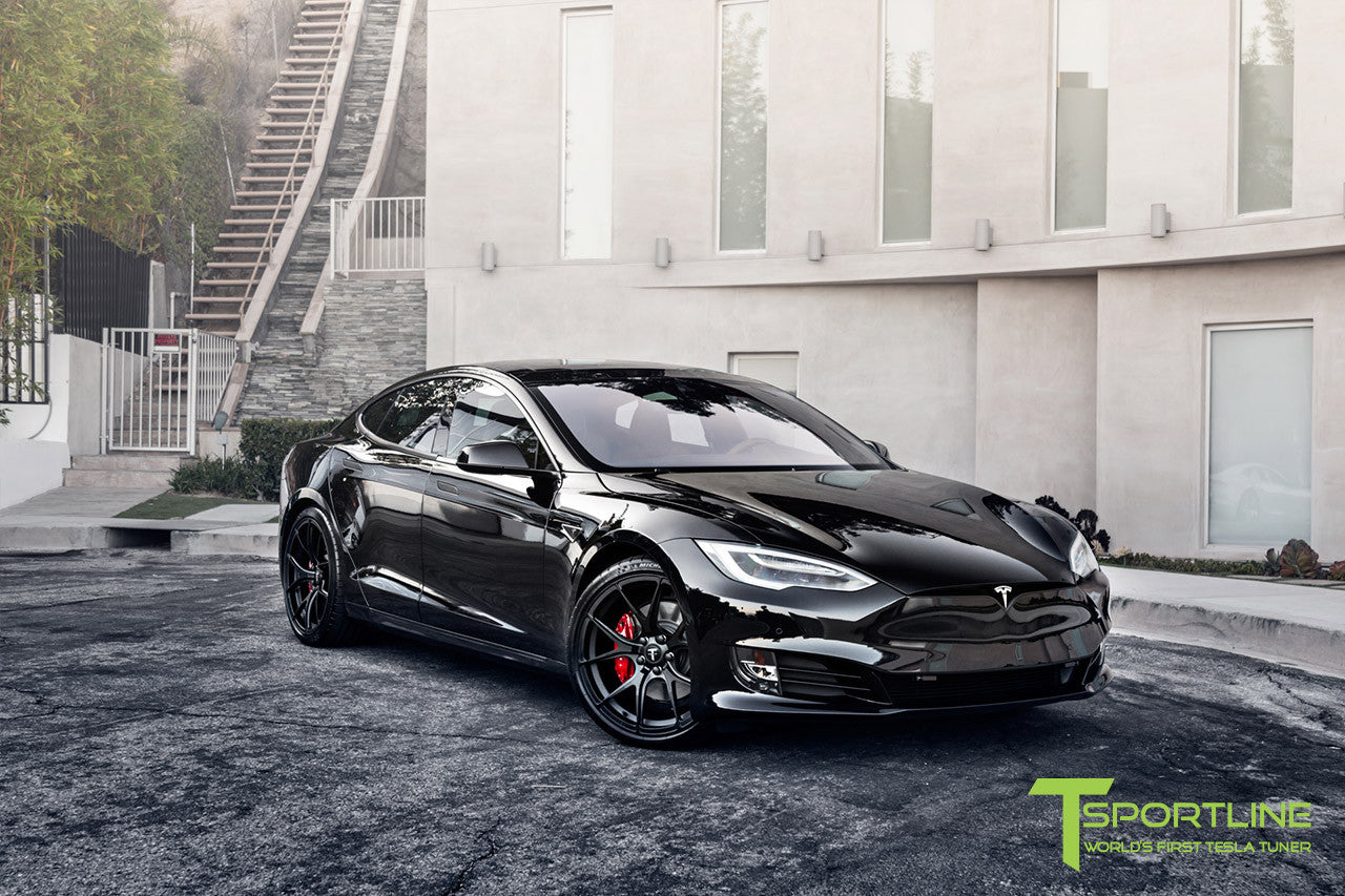 Project Cupertino - 2016 Tesla Model S P90D Ludicrous - Custom Ferrari Rosso Interior - 21 inch TS115 Forged Wheels 7