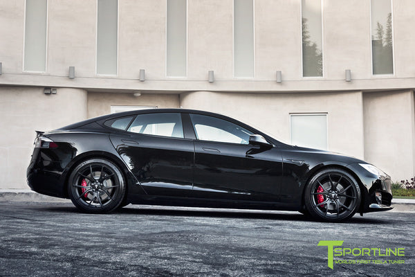 Project Cupertino - 2016 Tesla Model S P90D Ludicrous - Custom Ferrari Rosso Interior - 21 inch TS115 Forged Wheels 5