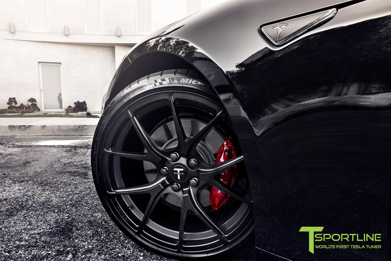 Project Cupertino - 2016 Tesla Model S P90D Ludicrous - Custom Ferrari Rosso Interior - 21 inch TS115 Forged Wheels 4