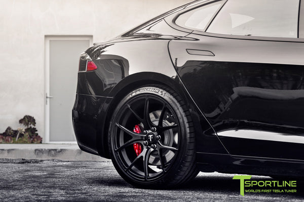 Project Cupertino - 2016 Tesla Model S P90D Ludicrous - Custom Ferrari Rosso Interior - 21 inch TS115 Forged Wheels 3